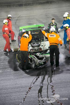 Denny Hamlin, Joe Gibbs Racing Toyota crashes out