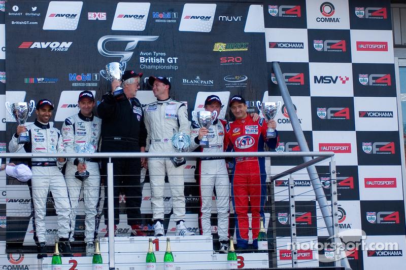Podium from left: #4 Oman Racing Team Aston Martin Vantage GT3: Ahmad Al Harthy, Michael Caine #31 Trackspeed Porsche 997 GT3 R GT3: David Ashburn, Nick Tandy #5 Oman Racing Team Aston Martin Vantage GT3: Jeff Smith, Rory Butcher
