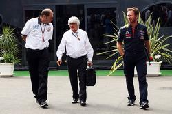 Bruno Michel, GP2-Boss; Bernie Ecclestone; Christian Horner, Red Bull Racing, Teamchef