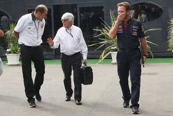 Bruno Michel, GP2 CEO with Bernie Ecclestone, and Christian Horner, Red Bull Racing Team Principal