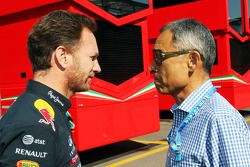 (L to R): Christian Horner, Red Bull Racing Team Principal with Hiroshi Yasukawa, Dorna Sports Advis