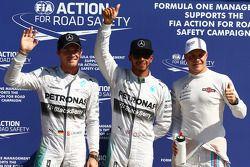 Pole position Lewis Hamilton, Mercedes AMG F1 W05, 2ème Nico Rosberg, Mercedes AMG F1, 3ème Valtteri Bottas, Williams FW36