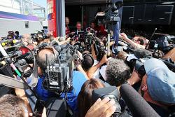 Luca di Montezemolo, Ferrari President with the media