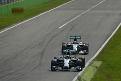 Nico Rosberg, Mercedes AMG F1 W05 leads team mate Lewis Hamilton, Mercedes AMG F1 W05 shortly before out braking himself at the first chicane
