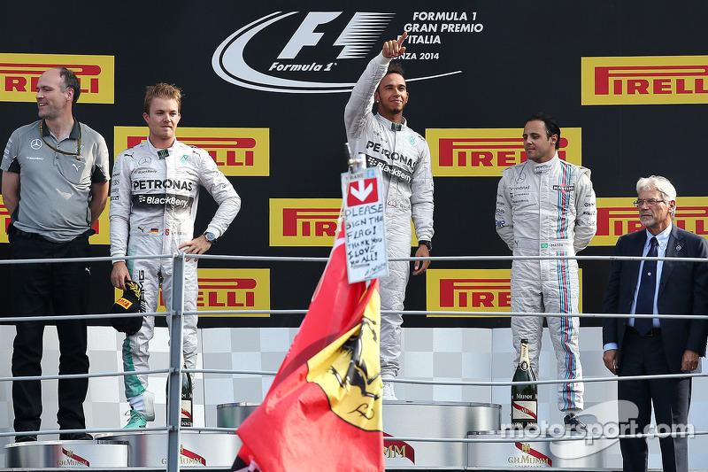 2014: 1. Lewis Hamilton, 2. Nico Rosberg, 3. Felipe Massa