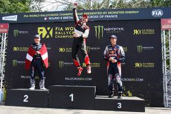 Winner Petter Solberg celebrates, second place Reinis Nitiss, third place Timmy Hansen