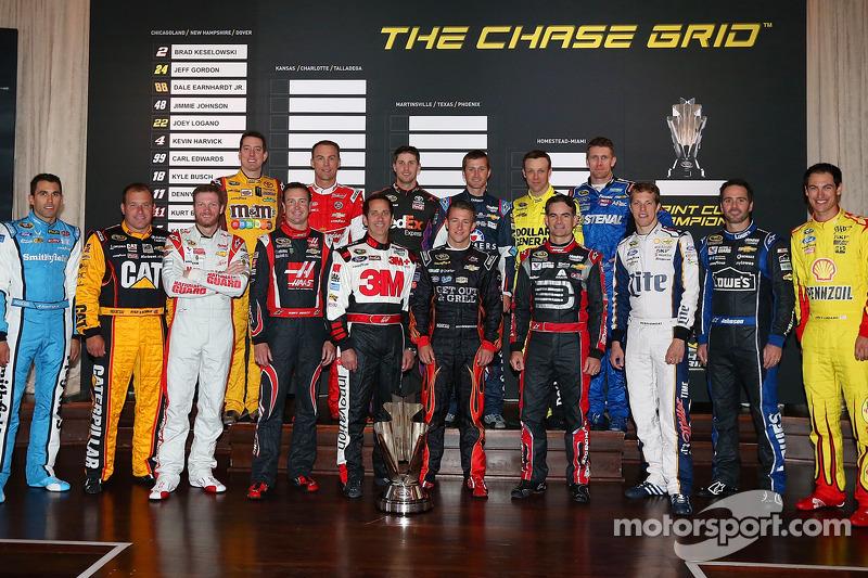 Chase drivers Jimmie Johnson, Jeff Gordon, Denny Hamlin, Kyle Busch, Carl Edwards, Ryan Newman, Joey