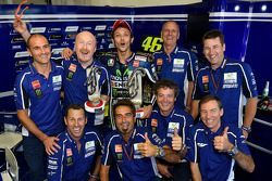 Race winner Valentino Rossi celebrates with the Yamaha team