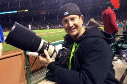 Kurt Busch covers a Cincinnati Reds vs. Chicago Cubs baseball game as a photographer