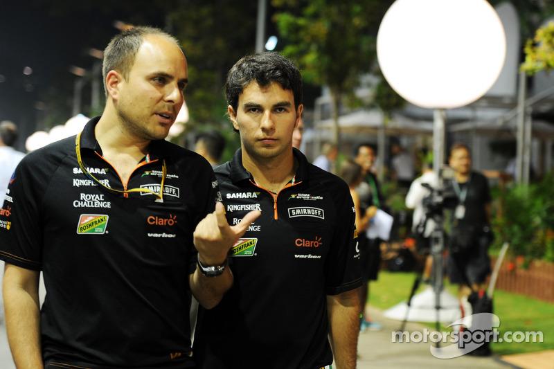 (L to R): Gianpiero Lambiase, Sahara Force India F1 Engineer with Sergio Perez, Sahara Force India F