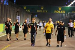 Charles Pic, Lotus F1 Team Third Driver walks the circuit