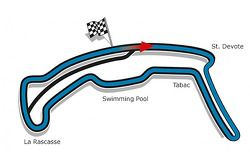 The layout for the Monaco ePrix using part of the Formula One GP circuit