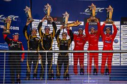 LMP1-L class podium: first place Nicolas Prost, Nick Heidfeld, Mathias Beche; second place Christophe Bouchut, James Rossiter, Lucas Auer