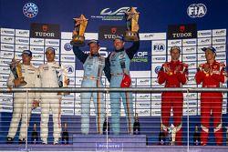 LMGTE Pro class podium: first place Darren Turner, Stefan Mücke, second place Frédéric Makowiecki, Patrick Pilet, third place Gianmaria Bruni, Toni Vilander