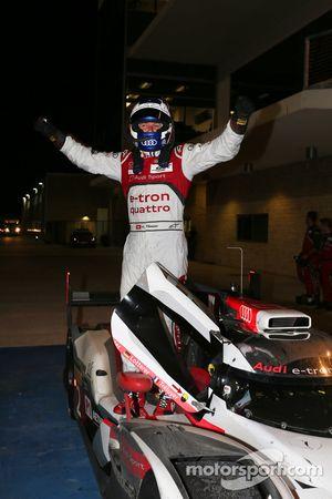 Race winner Marcel Fässler celebrates