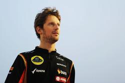 Romain Grosjean, Lotus F1 Team en el desfile de pilotos