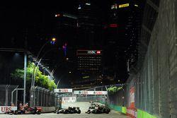 Nico Hulkenberg, Sahara Force India F1 VJM07, e Sergio Perez, Sahara Force India F1 VJM08