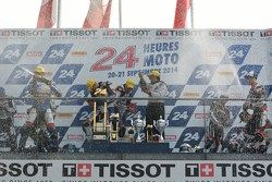 Podium: race winners Vincent Philippe, Anthony Delhalle, Erwan Nigon, second place David Checa, Kenn