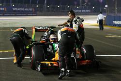 Nico Hulkenberg, Sahara Force India F1 VJM07 en la parrilla