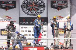 P1 podium: winners Scott Pruett, Memo Rojas, second place Alex Brundle, Gustavo Yacaman, third place
