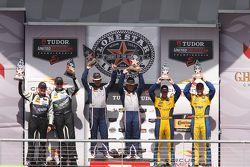 GTD podium: winners Jeroen Bleekemolen, Ben Keating, second place John Potter, Andy Lally, third place Dane Cameron, Markus Palttala