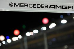 Mercedes AMG F1 pit stop Twitter handle in the pits