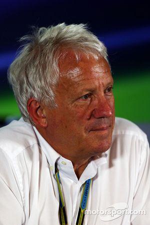Charlie Whiting, FIA Delegate in a FIA Press Conference