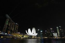 Scenic Singapore skyline at night