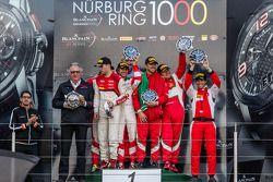 Championship podium: Pro Cup champion Laurens Vanthoor, Pro Am champions Andrea Rizzoli, Stefano Gai