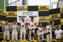 Podium: race winners Kelvin van der Linde, Rene Rast, second place Robert Renauer, Dominik Schwager, third place Fabian Hamprecht, Nicki Thiim