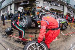 Pit stop for #90 Scuderia Villorba Corse Ferrari 458 Italia: Andrea Rizzoli, Stefano Gai, Thomas Kem