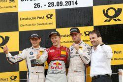 比赛获胜者 Mattias Ekström, 第二名 Marco Wittmann, 第三名 Martin Tomczyk