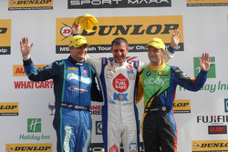 Ronde 25 Podium 1e Jason Plato, 2e Colin Turkington, 3e Mat Jackson