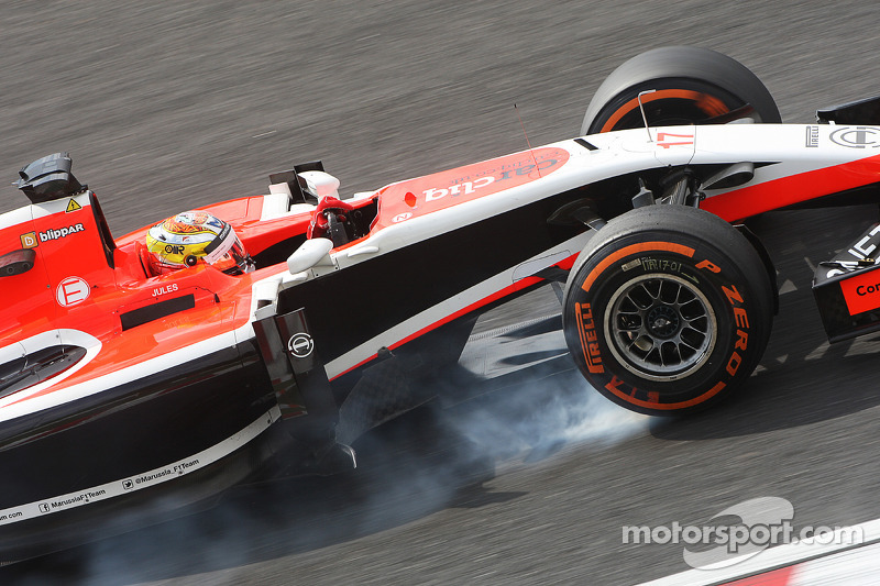 Jules Bianchi, Marussia F1 Team MR03 si blocca in frenata