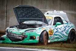 Crash for #25 Freedom Autosport Maxda MX-5: Mat Pombo, Mark Pombo