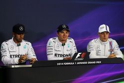 The FIA Press Conference Qualifying top three: Lewis Hamilton, Mercedes AMG F1, second; Nico Rosberg, Mercedes AMG F1, pole position; Valtteri Bottas, Williams, third