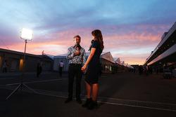 (L to R): Eddie Jordan, BBC Television Pundit with Suzi Perry, BBC F1 Presenter