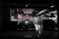The Marussia F1 Team MR03 of Jules Bianchi, Marussia F1 Team at night time in parc ferme conditions in the pit garage
