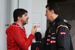 (L to R): Luis Garcia Abad, Driver Manager of Fernando Alonso, Ferrari with Federico Gastaldi, Lotus