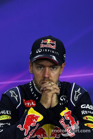 Sebastian Vettel, Red Bull Racing, in de FIA-persconferentie