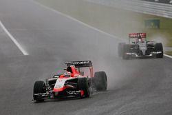 Jules Bianchi, Marussia F1 Team MR03 leads Adrian Sutil, Sauber C33