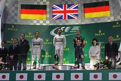 Podium: 1er Lewis Hamilton, 2ème Nico Rosberg, 3ème Sebastian Vettel