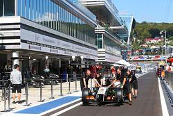 The Sahara Force India F1 VJM07 of Nico Hulkenberg, Sahara Force India F1 is pushed down the pit lane