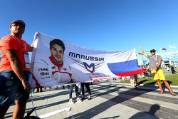 Track atmosphere, public area, autographs session. Fan of Jules Bianchi, Marussia F1 Team