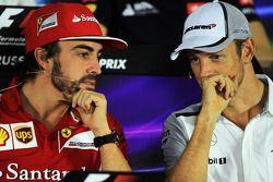 (L to R): Fernando Alonso, Ferrari and Jenson Button, McLaren in the FIA Press Conference
