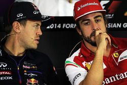 (L to R): Sebastian Vettel, Red Bull Racing and Fernando Alonso, Ferrari in the FIA Press Conference