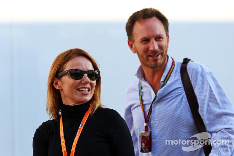 (Esquerda para direita): Geri Halliwell, cantor, com Christian Horner, chefe de equipe da Red Bull