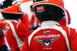 Marussia F1 Team mechanic carries the #JB17 hashtag as a message of support for Jules Bianchi