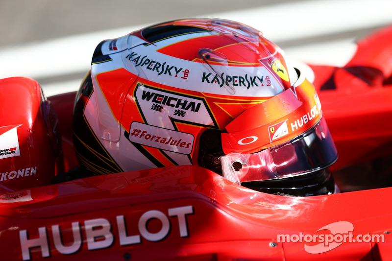 Kimi Raikkonen, Ferrari F14-T Jules Bianchi destek mesajını taşıyor