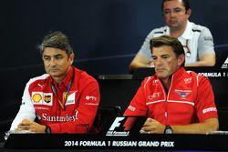 (L to R): Marco Mattiacci, Ferrari Team Principal and Graeme Lowdon, Marussia F1 Team Chief Executive Officer in the FIA Press Conference